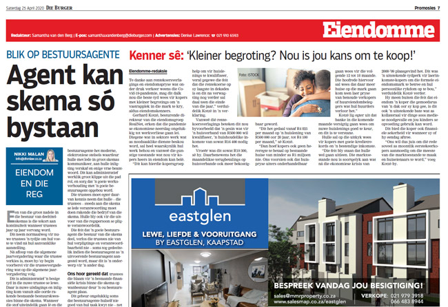 Article in The Burger Newspaper - Agent kan skema so bystaan 25 april 2020
