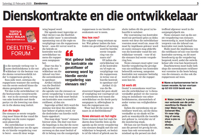 Article in The Burger Newspaper - dienskontrakte-en-die-ontwikkelaar-22-feb-2020