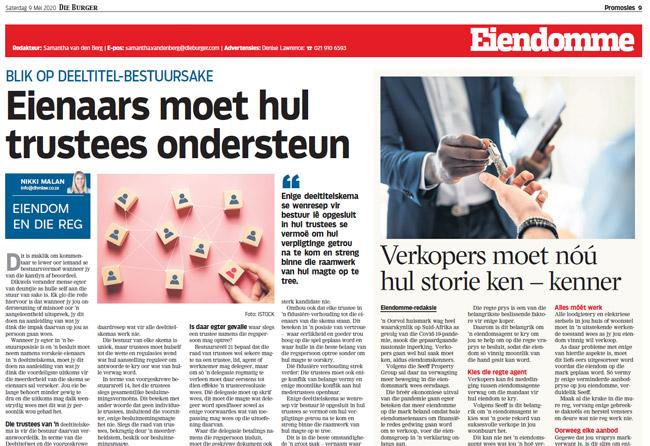 Article in The Burger Newspaper - eienaars-moet-hul-trustees-ondersteun-9-mei-2020