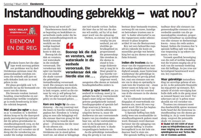 Article in The Burger Newspaper - instandhouding-gebrekkig-wat-nou-7-maart-2020