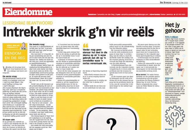 Article in The Burger Newspaper - intrekker-skrik-gn-vir-reels-30-mei-2020