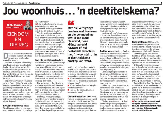 Article in The Burger Newspaper - jou-woonhuis-n-deeltitelskema-29-feb-2020