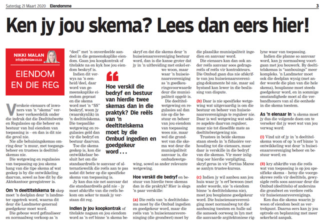 Article in The Burger Newspaper - ken-jy-jou-skema-lees-dan-eers-hier!-21-maart-2020