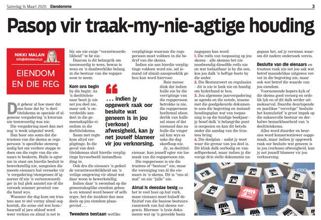 Article in The Burger Newspaper - pasop-vir-traak-my-nie-agtige-houding-14-Maart-2020