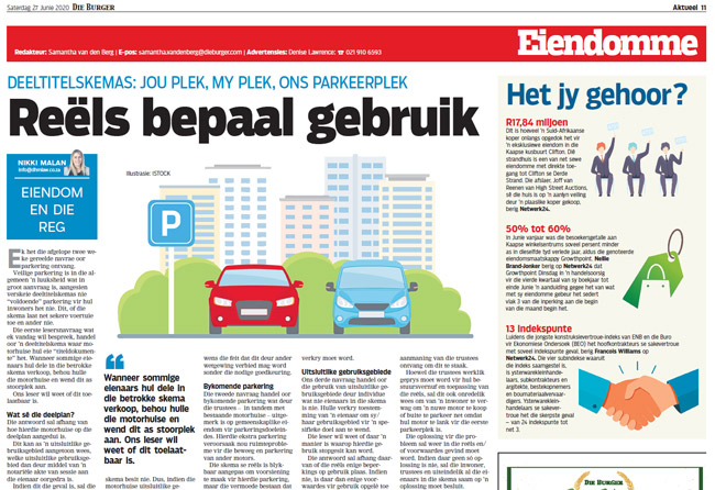 Article in The Burger Newspaper - reels-bepaal-gebruik-27-junie-2020