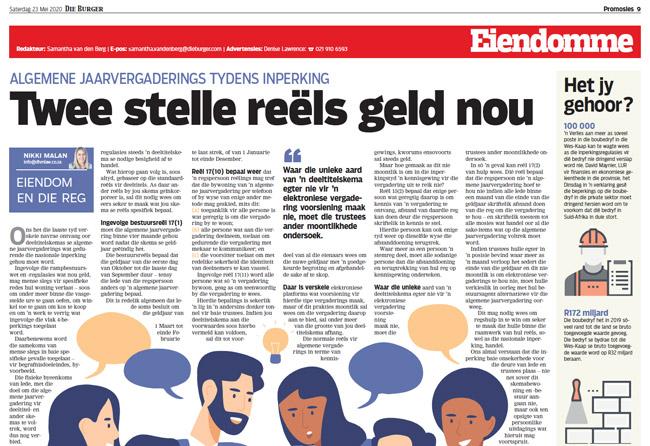 Article in The Burger Newspaper - twee-stelle-reels-geld-nou-23-mei-2020