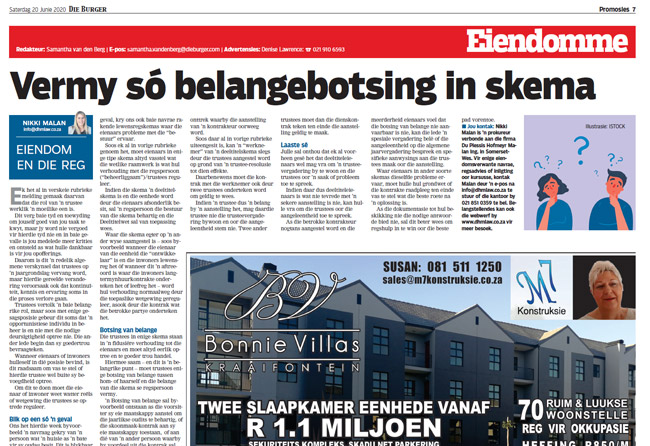 Article in The Burger Newspaper - vermy-so-belangebotsing-in-skema-20-junie-2020