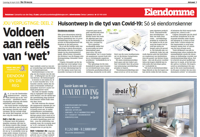 Article in The Burger Newspaper - voldoen-aan-reels-van-wet-18-april-2020