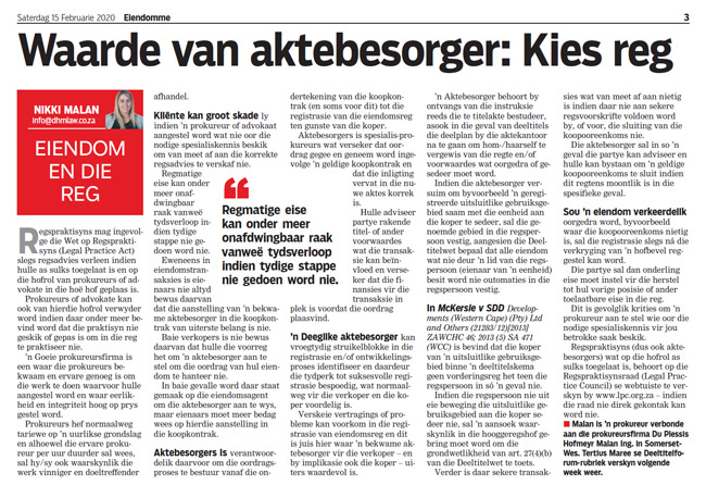 Article in The Burger Newspaper - waarde-van-aktebesorger-kies-reg-15-feb-2020