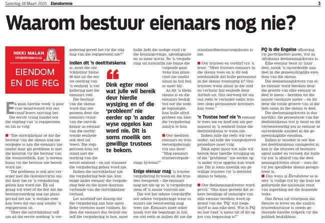 Article in The Burger Newspaper - waarom-bestuur-eienaars-nog-nie-28-maart-2020