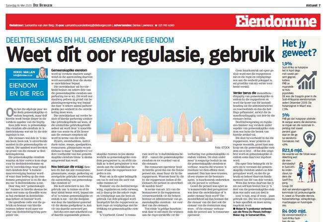 Article in The Burger Newspaper - weet-dit-oor-regulasies-gebruik-16-mei-2020