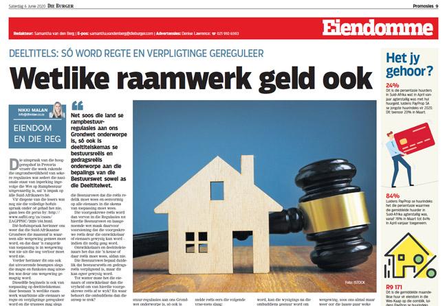 Article in The Burger Newspaper - wetlike-raamwerk-geld-ook-6-junie-2020